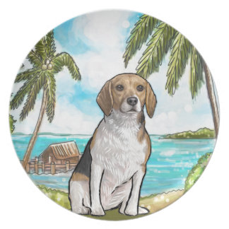 Beagle on Vacation Tropical Beach Plate