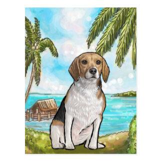 Beagle on Vacation Tropical Beach Postcard