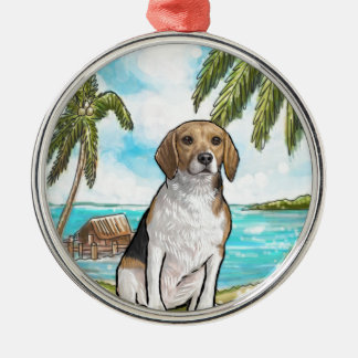 Beagle on Vacation Tropical Beach Silver-Colored Round Ornament