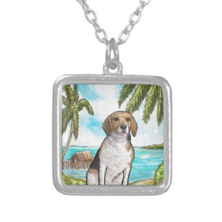 Beagle on Vacation Tropical Beach Silver Plated Necklace