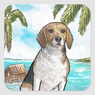 Beagle on Vacation Tropical Beach Square Sticker