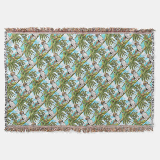 Beagle on Vacation Tropical Beach Throw Blanket