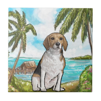 Beagle on Vacation Tropical Beach Tile