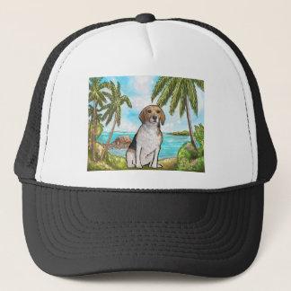 Beagle on Vacation Tropical Beach Trucker Hat