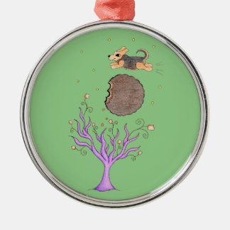 Beagle Over the Moon Silver-Colored Round Ornament