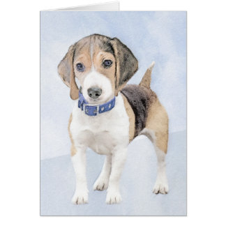 Beagle Painting - Cute Original Dog Art Card