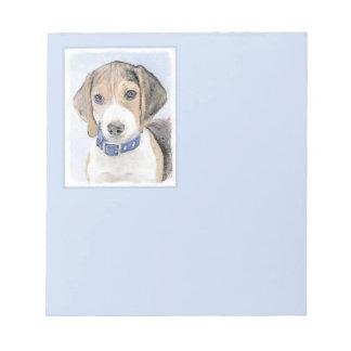 Beagle Painting - Cute Original Dog Art Notepad