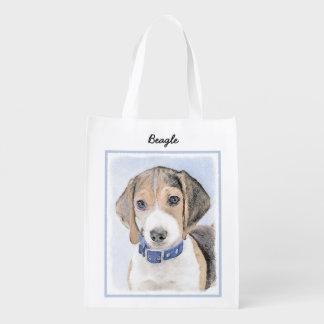 Beagle Painting - Cute Original Dog Art Reusable Grocery Bag