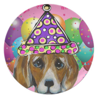 Beagle Party Dog Plate