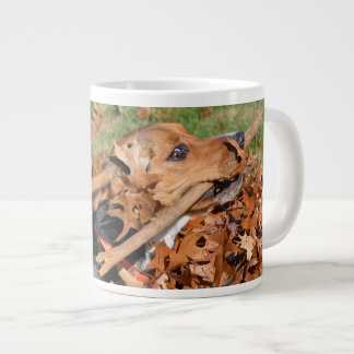 Beagle Playing With Stick In The Leaves Large Coffee Mug