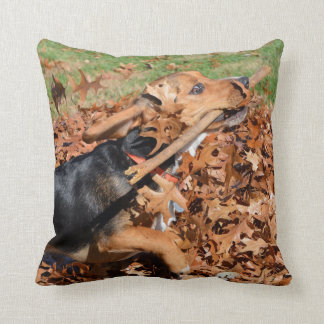 Beagle Playing With Stick In The Leaves Throw Pillow