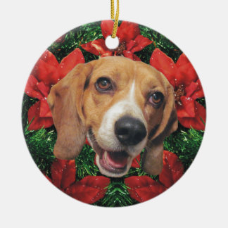 Beagle Poinsettias Christmas Ceramic Ornament