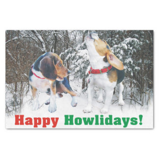 Beagle Puppies Happy Howlidays Tissue Paper