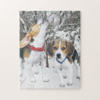 Beagle Puppies in the Snowy Woods Jigsaw Puzzle