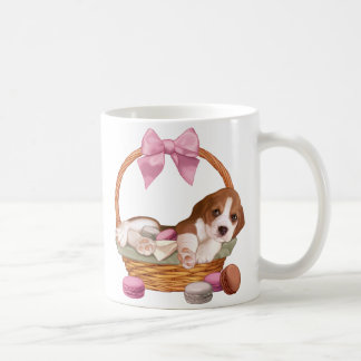 Beagle puppy and macaroons coffee mug