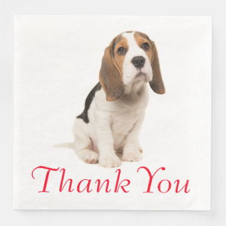 Beagle Puppy Dog Wedding Party Thank You Paper Napkins
