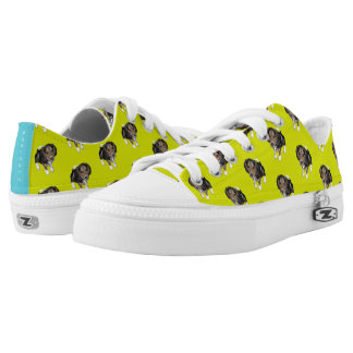 Beagle Puppy #GOFORTH Chartreuse w/ Turquoise Low-Top Sneakers