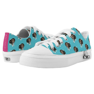 Beagle Puppy #GOFORTH Turquoise w/ Pink Low-Top Sneakers