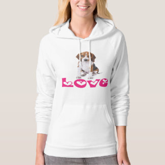 Beagle Puppy Love, Hearts Ladies Hoodie Sweatshirt