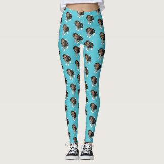 Beagle Puppy Turquoise Custom Leggings