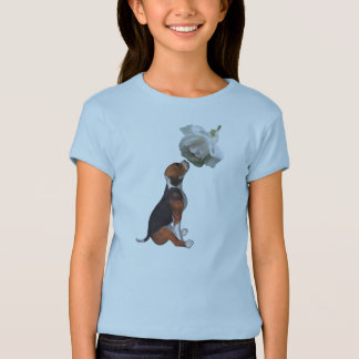 Beagle Puppy White Rose Cute Animal T Shirt