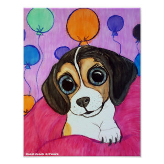 Beagle Puppy with Balloons Poster
