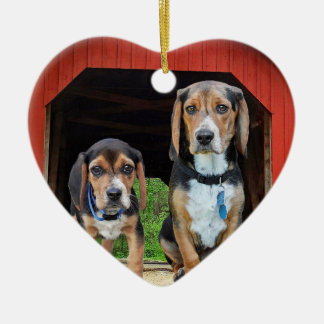 Beagle Pups At The Red Covered Bridge Valentines Ceramic Ornament
