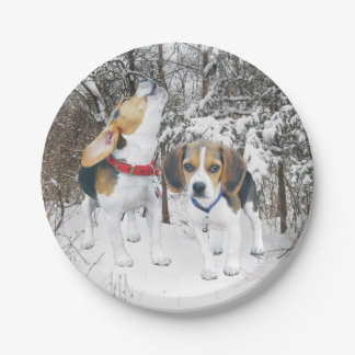 Beagle Pups in Woodland Snow Paper Plates 7 Inch Paper Plate