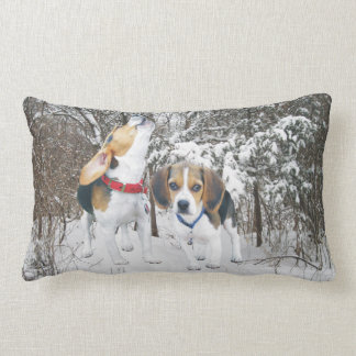 Beagle Pups Snowy Woods Lumbar Pillow