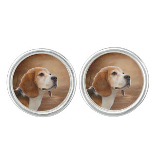 Beagle Round Cufflinks, Silver Plated Cuff Links