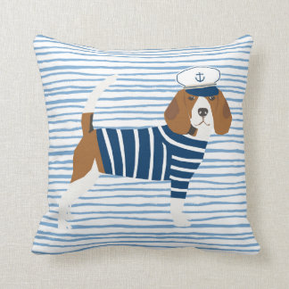 Beagle sailor dog cute nautical themed sailor dog throw pillow