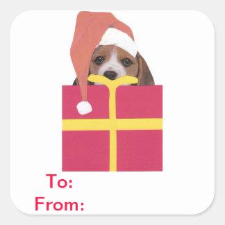 Beagle Santa Hat Gift Tags Sticker