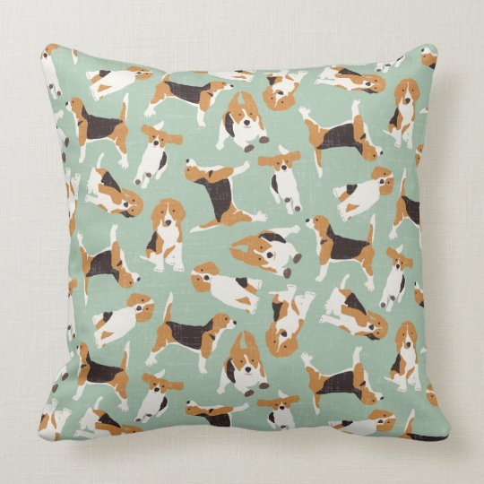 beagle scatter mint throw pillow
