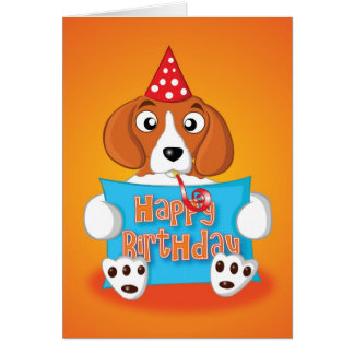 beagle - sign - happy birthday card