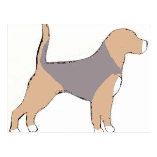 Beagle silhouette blue tan white postcard