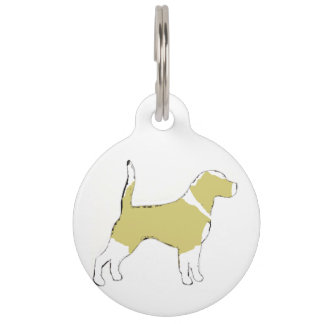 Beagle silhouette lemon white pet ID tag