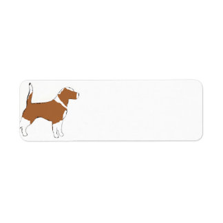 Beagle silhouette red white return address label