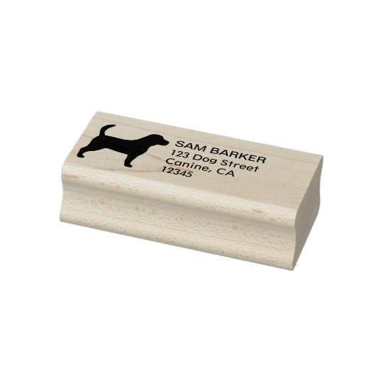 Beagle Silhouette Return Address Rubber Stamp