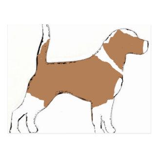 Beagle silhouette tan white postcard