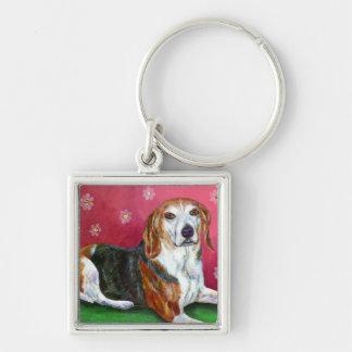 Beagle Silver-Colored Square Keychain