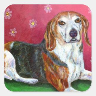 Beagle Square Sticker