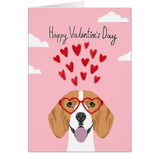 Beagle Valentines day dog card