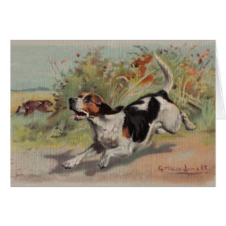Beagle (vintage painting on canvas) Notecard
