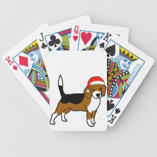 Beagle with Santa hat Bicycle Playing Cards