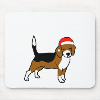 Beagle with Santa hat Mouse Pad