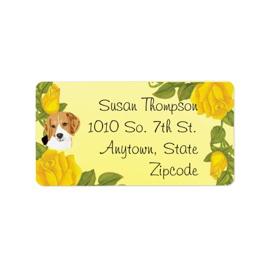Beagles and Yellow Roses Label