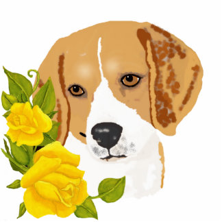 Beagles and Yellow Roses Acrylic Cut Outs