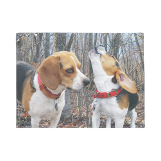 Beagles in Woods Door Mat