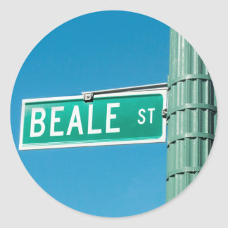 Beale Street sign Classic Round Sticker