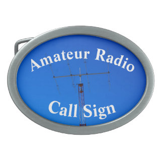 Beam Antenna and Call Sign Oval Belt Buckle